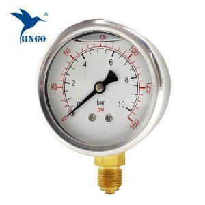60 mm od nehrđajućeg čelika kućište od mesinga tip dna tip tlaka 150PSI uljno napunjen tlakomjera